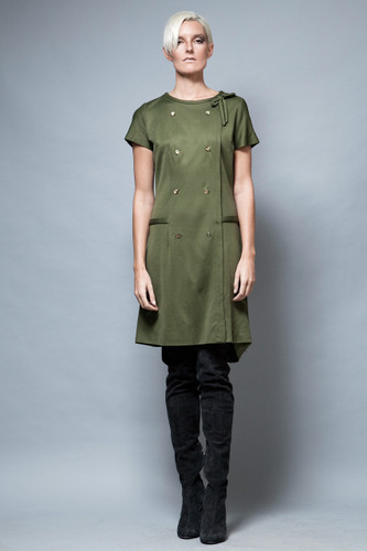 vintage 1960's MOD dress olive green bow short sleeves M L  :