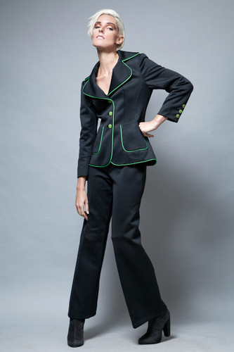 UNWORN deadstock vintage 70s Lilli Ann pants suit jacket black green piping flare highwaist M L