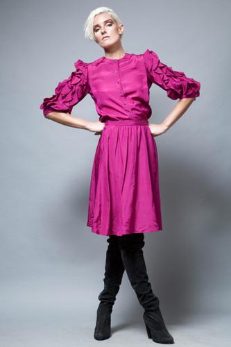 vintage 80s ruffled top skirt set purple silk wool 2-piece S M  :