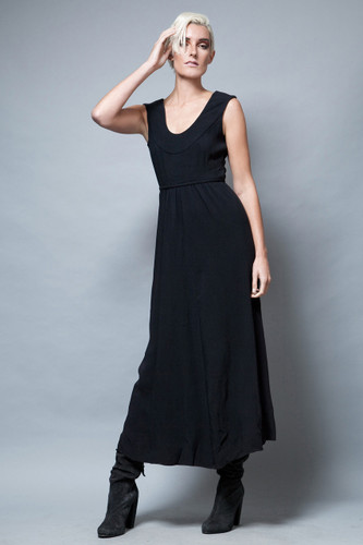 vintage 1970's maxi dress black sleeveless belted S