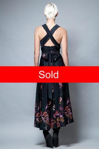 open cross back maxi dress vintage 1970's halter black floral XS S
