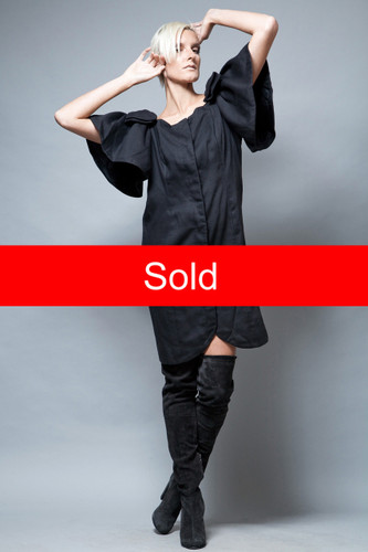 little black dress vintage 1980's party bow sleeves rhinestones M L  :