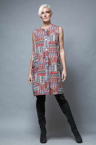 A-line pocket dress 1960's MOD vintage geometric colorful sleeveless XL 1X  :