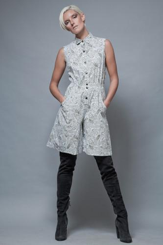 romper shorts vintage 80's cotton white khaki sleeveless ONE SIZE  :