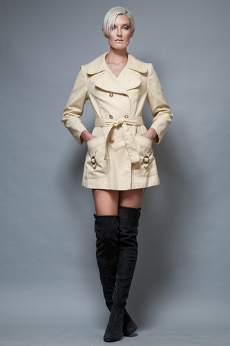peacoat short coat dress MOD vintage 1960's tan yellow ONE SIZE  :