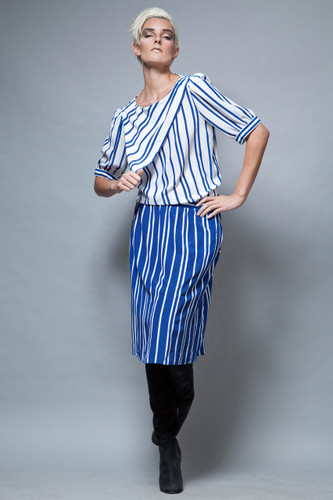 UNWORN deadstock vintage 80s skirt top set 2-piece white blue stripes ONE SIZE