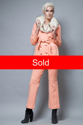 fur collar coat jacket pants suit vintage 1970's peach pink S  :