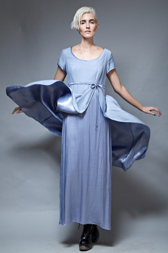 90s party dress gown maxi smokey blue empire cap sleeves L  :