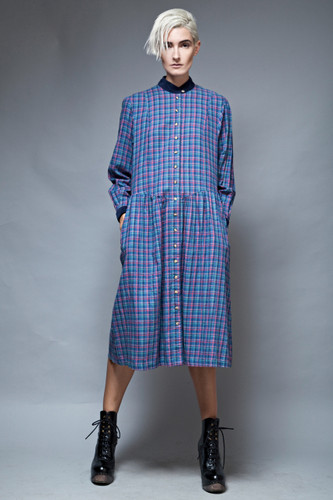 90s grunge plaid dress blue maxi long sleeves cotton drop waist M