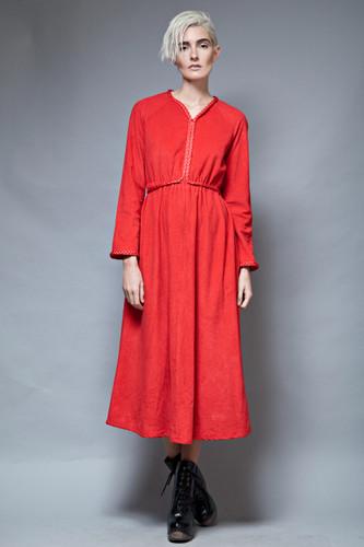 vintage 70s lounge dress house dress red fleece braided belt ONE SIZE