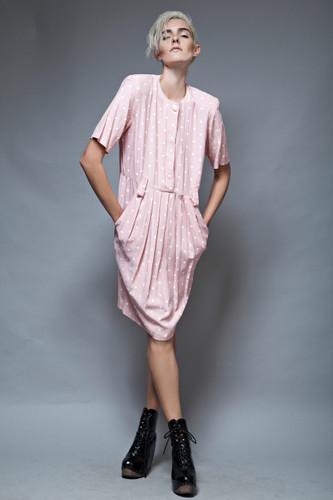 vintage 80s polka dot pocket dress pale pink white pleated M