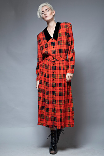 grunge red plaid maxi dress vintage 90s oversized one size XL 1X plus size  :