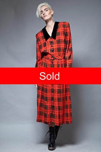 grunge red plaid maxi dress vintage 90s oversized one size XL 1X plus size  :