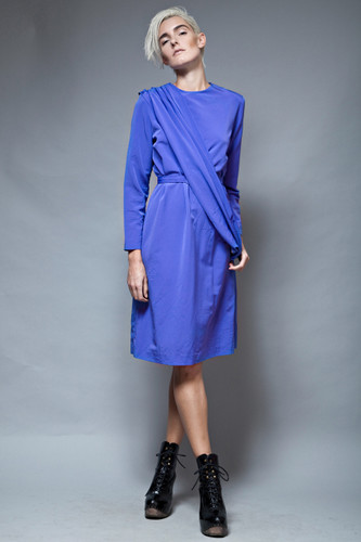 vintage 80s belted sash draped dress blue long sleeves ONE SIZE