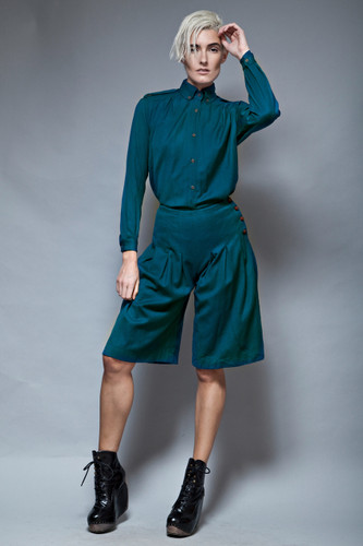 culottes pleated shorts pants shirt set vintage 70s 2-piece blue wool S  :