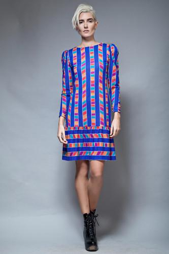 vintage 80s dress ruffled hem long sleeves blue geometric stripes S