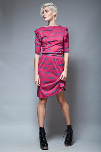 vintage 70s skirt set  ruffled shoulders fuschia pink stripes metallic petites S