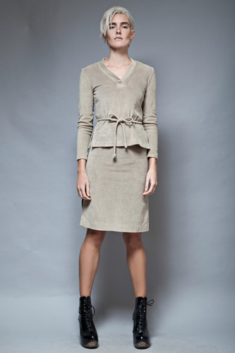 vintage LANVIN 2-piece skirt set belted terry soft khaki XS S