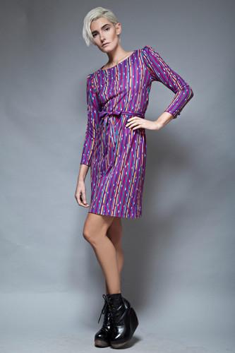 vintage 70s dress belted day dress purple geometric stripes petites XS S