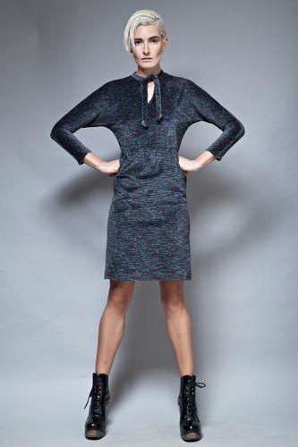 vintage LANVIN dress 70s soft terry gray rainbow fuzz tied neck S