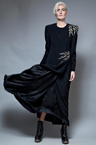 vintage 80s long black gown regal dress gathered beaded asymmetrical M