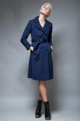slim fit navy coat chevron back vintage 1970's minimalist belted S  :