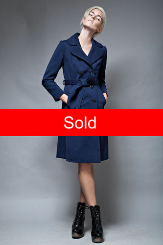 slim fit navy coat chevron back vintage 1970's minimalist belted S  :