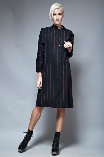 origami dress vintage 80s structured shoulders black stripes L  :