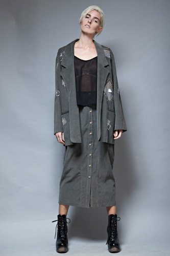 90s grunge gray skirt jacket set corduroy oversized applique vintage M