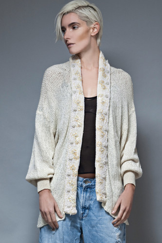 vintage 80s long cardigan loose chunky knit sequins lace cream ONE SIZE
