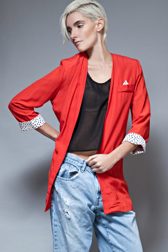 vintage 80s red jacket blazer open polka dot dalmatian ONE SIZE