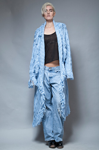 vintage 90s duster long cardigan fringes chunky cable knit cozy blue soft ONE SIZE plus size