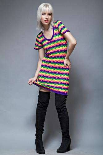 op art knit dress vintage 60s MOD colorful wave mini dress ONE SIZE  :