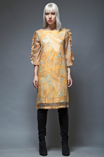 ruffled sleeves shift dress vintage 60s yellow floral Hawaii M L