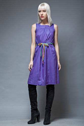 vintage 60s LANVIN tent dress sleeveless purple colorful belt S