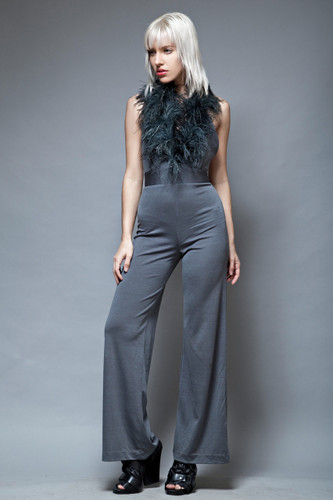 feather jumpsuit disco vintage 70s gray halter open back XS S  :