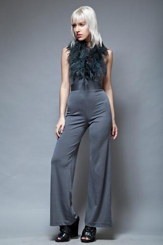 feather jumpsuit disco vintage 70s gray halter open back XS S