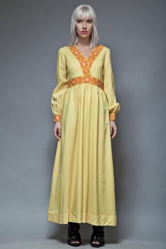 yellow maxi dress hostess empire vintage 70s floral trim M L