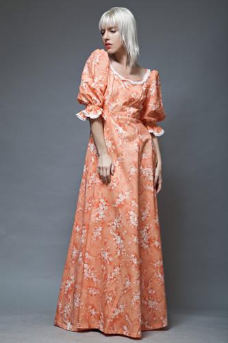 prairie maxi dress orange floral doll sleeves vintage 1970s M