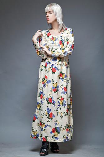 plus size floral maxi dress oversized gauzy cotton vintage 70s smocking