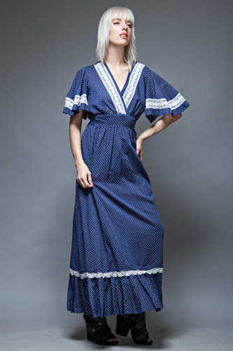 hippie boho dress maxi polka dot angel sleeves navy lace ruffles 1970s ONE SIZE  :