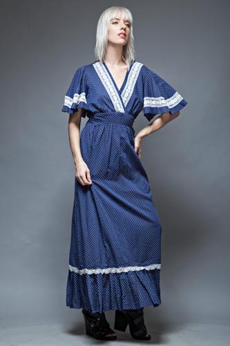 hippie boho dress maxi polka dot angel sleeves navy lace ruffles 1970s ONE SIZE
