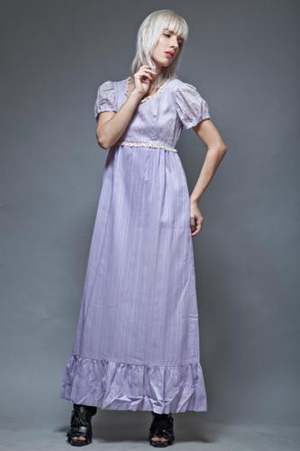 M boho dress hippie periwinkle purple doll sleeves empire floral lace vintage 70s