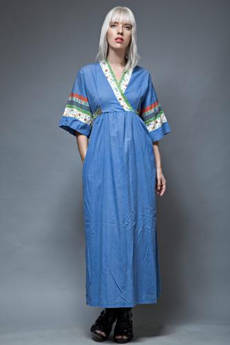 kimono dress maxi M L vintage 70 blue chambray cotton patchwork print