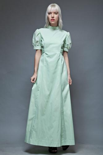 vintage 1970s prairie maxi dress pale green swiss dot doll sleeves L