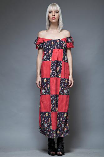 vintage 70s boho hippie dress empire patchwork polka dot red cotton ONE SIZE