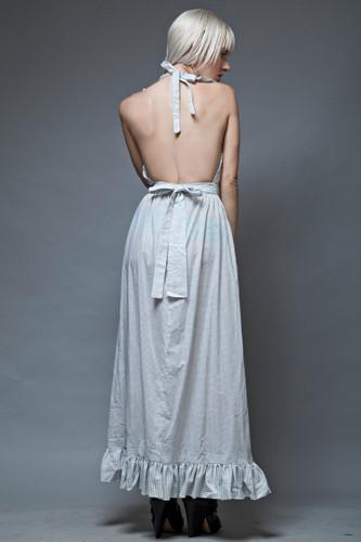 apron dress maxi vintage 70s boho hippie open back white blue polka dot ruffles S