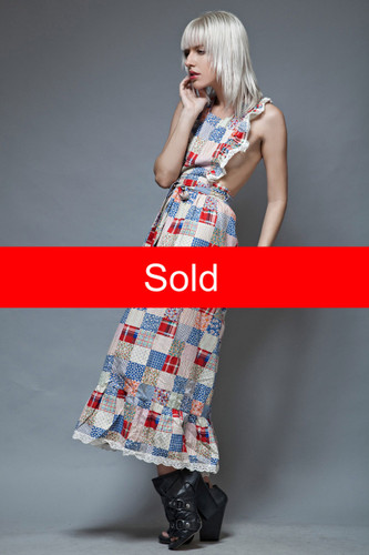 boho apron wrap dress vintage 70s maxi patchwork cotton open back ruffles ONE SIZE  :