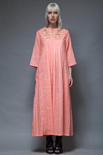 kaftan caftan vintage 70s peach maxi pleated embroidery ethnic L  :