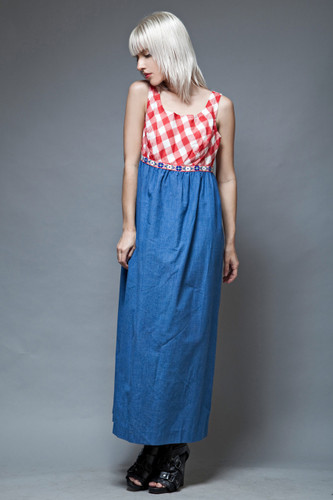 vintage 70s maxi dress red gingham plaid blue chambray empire L
